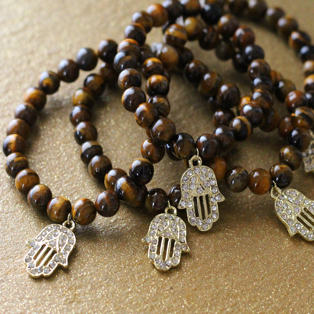 Tiger Eye Gold Hamsa Charm Stretch Bracelet - T. Victoria