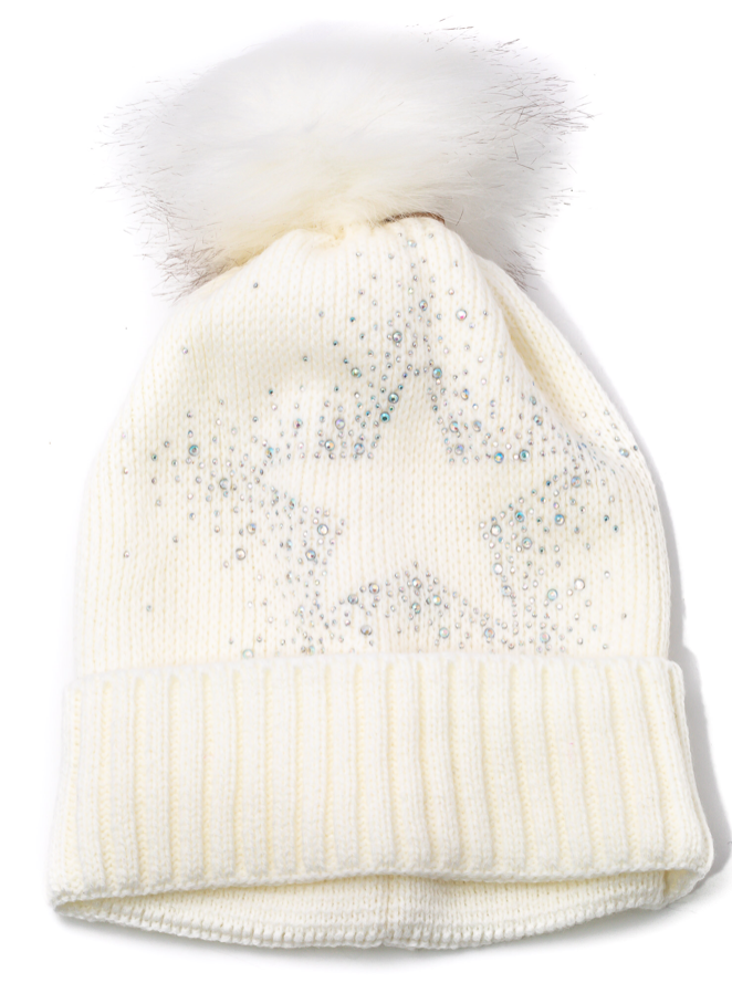 white star rhinestone bling fur pom hat