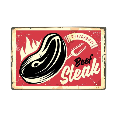 Plaque Métal Vintage Beef Steak - 20 x 30 cm