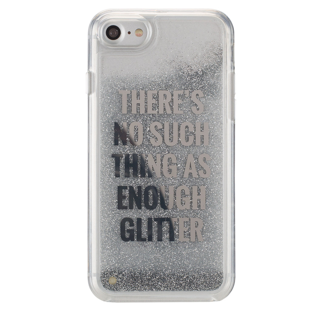 Flexible iPhone 7 Case with Silver Floating Glitter Design e0fb1b2db5