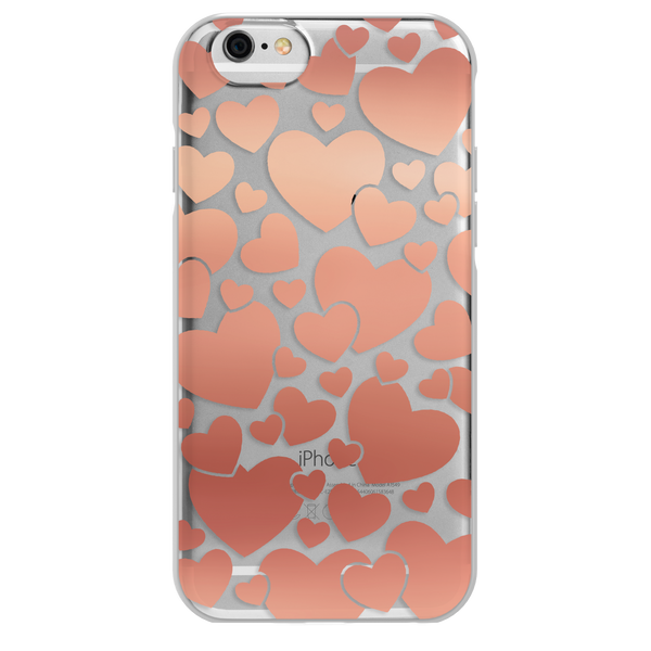 iPhone 6/7/8 FlexShield - Clear Rose Gold Hearts