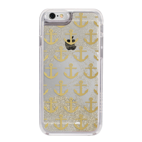 iPhone 6/7/8 GlitterShield - Gold Anchors