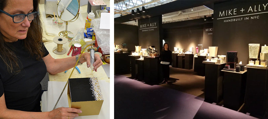 (left) Ally Rosson working in her New York City studio (right) and Ally at their booth at NYC NOW