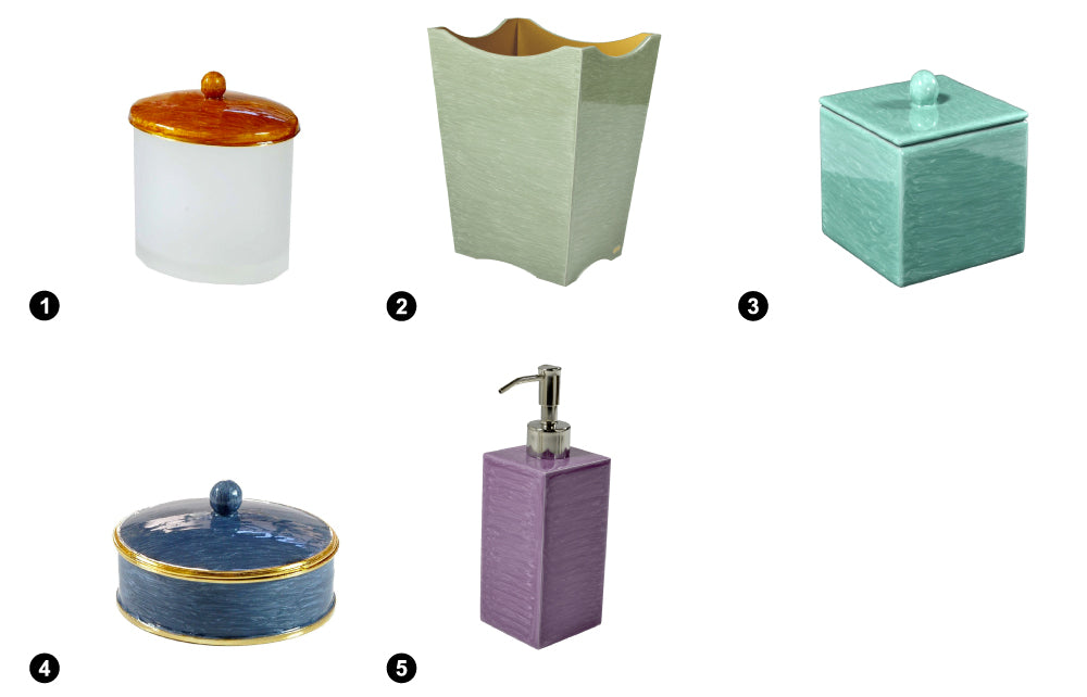 Mike+Ally (1) Oval Q-Tip Container - Shine (2) Scalloped Basket - White Jade (3) Container - Aqua (4) Jewelry Box - French Blue (5) Lotion Pump - Seafog Purple