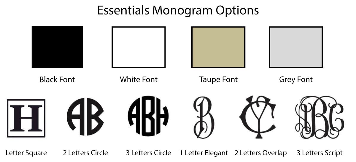 Mike + Ally Essential Monogram options