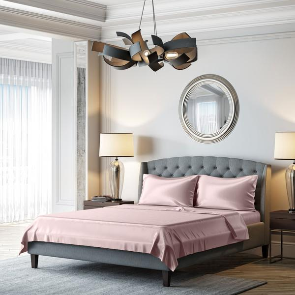 Mulberry Park Silks' 22 Momme Silk Sheets in Rose Quartz