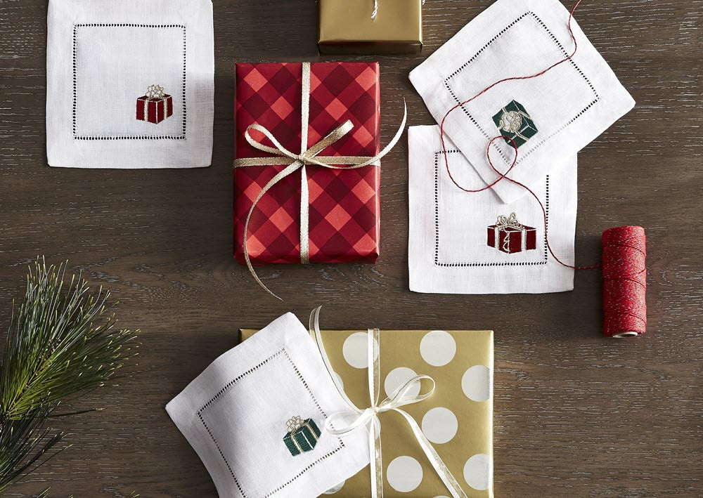 SFERRA's Christmas embroidered cocktail napkins