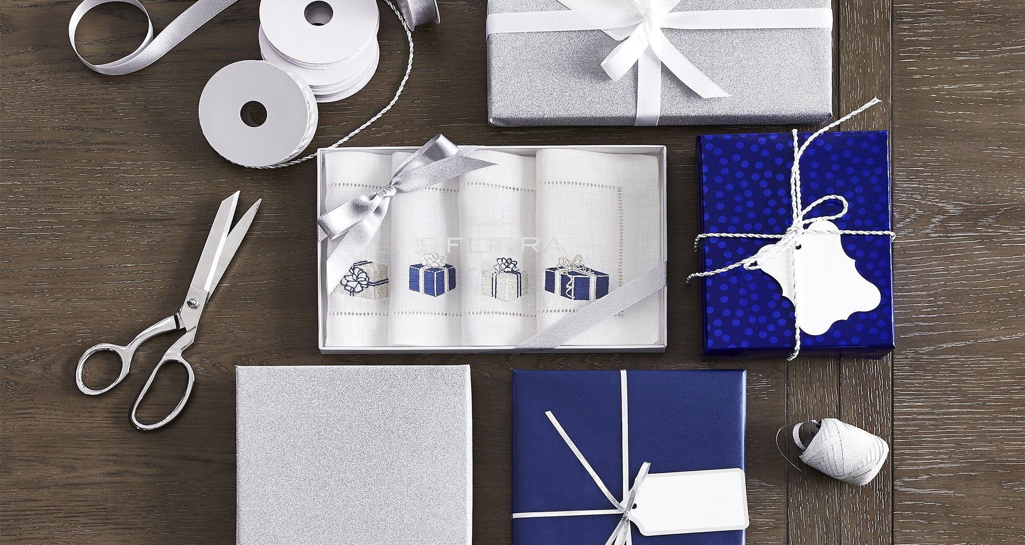 Sferra Gifts Embroidered Cocktail Napkins in Blue/Silver