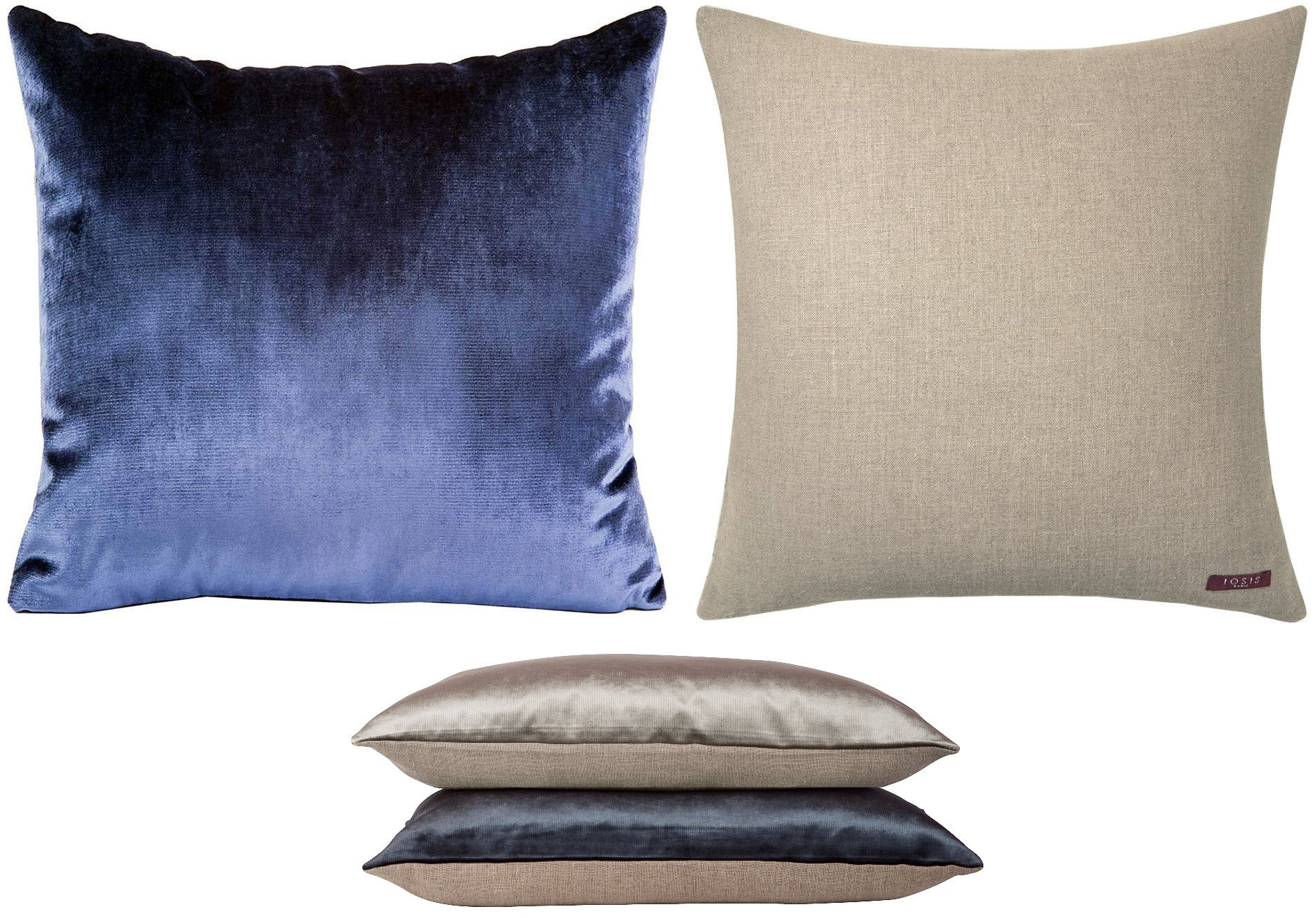 Yves Delorme Iosis Berlingot pillow has solid velvet velour front, a linen back, and clean, classic lines