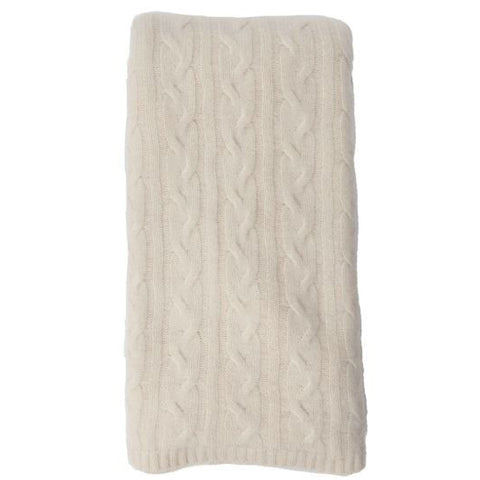 Alashan 100% Cashmere Cable Rope Stitch Knit Throw - Snow