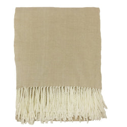 Alashan Cotton / Acrylic Adirondack Herringbone Throw - Bisque