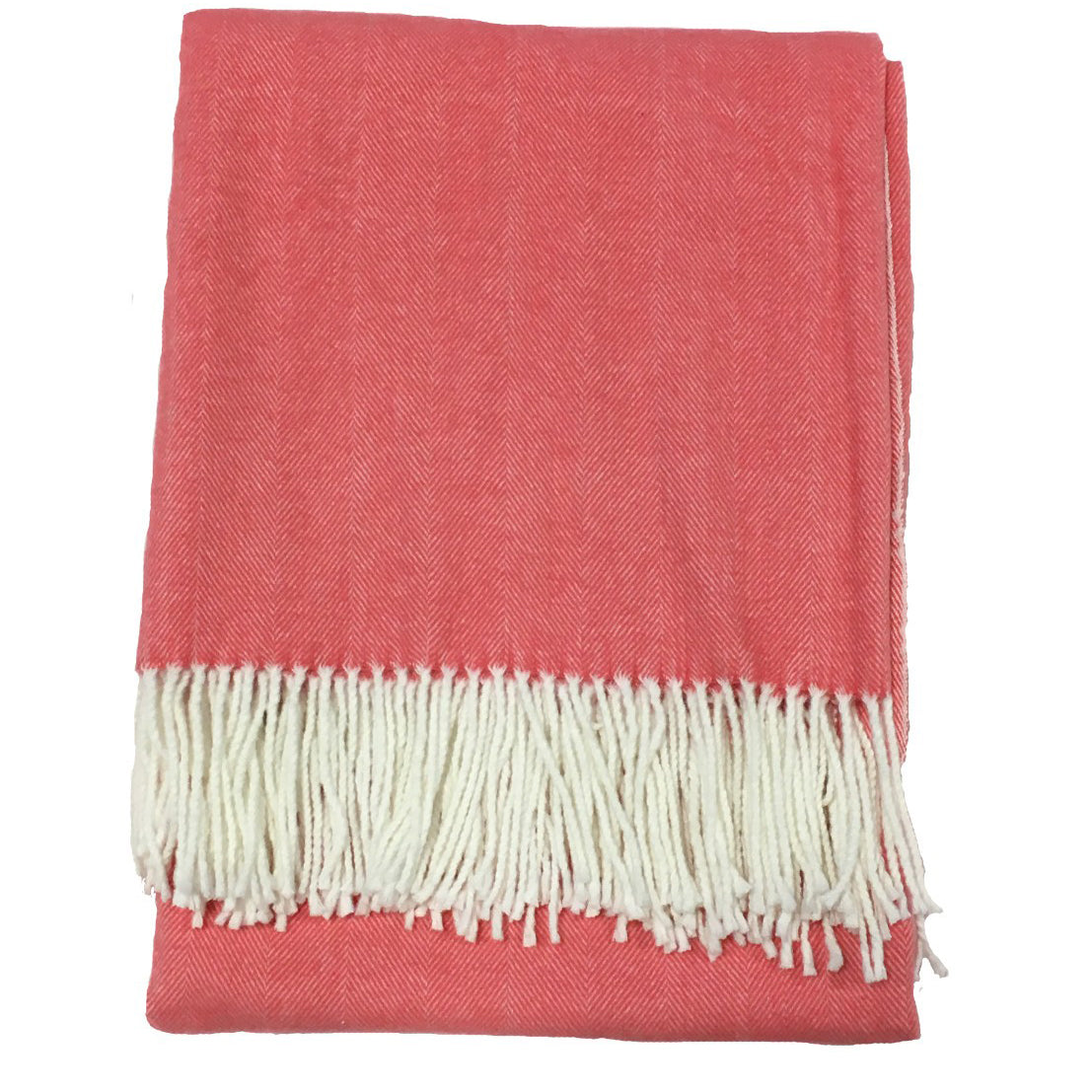Alashan Cotton / Acrylic Adirondack Herringbone Throw - Coral Cay