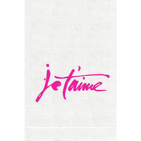 Anali Je T'aime Linen Guest Towels - Hot Pink