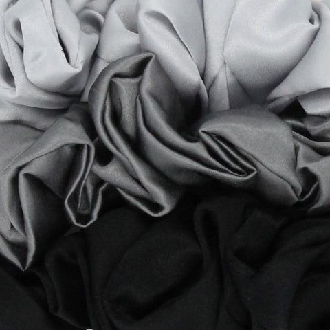 Mulberry Park Silks Charmeuse Silk Hair Scrunchies - Black/Silver/Gunmetal