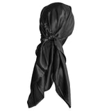 Black Silk Head Scarf For Hair Bandana - 100% Pure Mulberry Silk