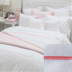 BOVI Bitsy Dots Bedding - White/Coral