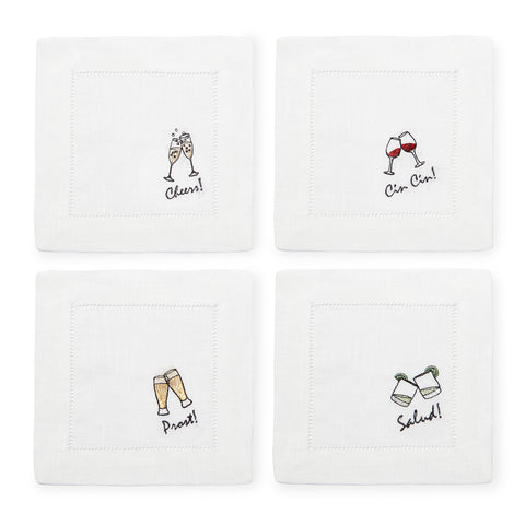 Sferra Cheers Embroidered Cocktail Napkins