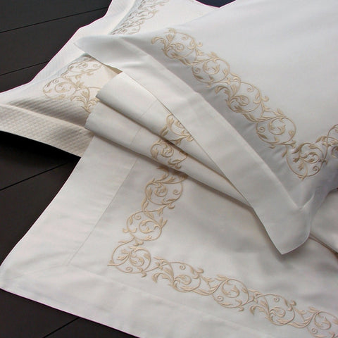Dea Ramages Florentine Scroll Embroidered Bedding - Ivory/Beige