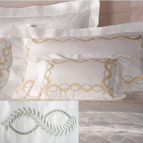 Dea Diana Embroidered Bedding - Ivory/Celadon Green