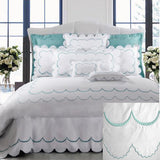 Dea Campanella Embroidered Bedding - White/Turquoise