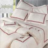 Dea Etruria Embroidered Bedding - Ivory/Caledron Green