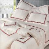 Dea Etruria Embroidered Bedding - White/Charocal Grey