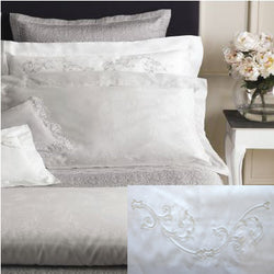 Dea Isotta Embroidered Bedding - White/Light Grey