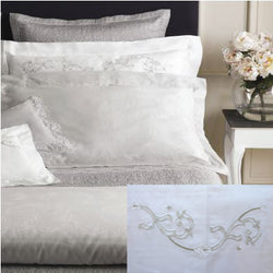 Dea Isotta Embroidered Bedding - White/Silver