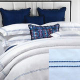 Dea Lajatico Embroidered Bedding - White/Deep Blue