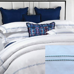Dea Lajatico Embroidered Bedding - White/Sea Blue