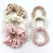 Mulberry Park Silks Charmeuse Silk Hair Scrunchies - Ivory/Pink/Sand