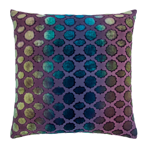Kevin O'Brien Studio Mod Fretwork Velvet Decorative Pillow - Peacock