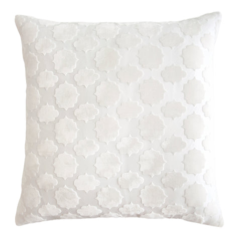 Kevin O'Brien Studio Mod Fretwork Velvet Decorative Pillow - White