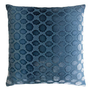 Kevin O'Brien Studio Mod Fretwork Velvet Decorative Pillow - Denim