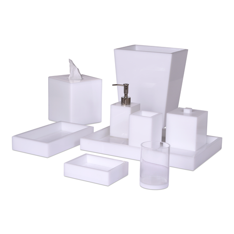Mike and Ally White Ice Lucite Bath Accessories