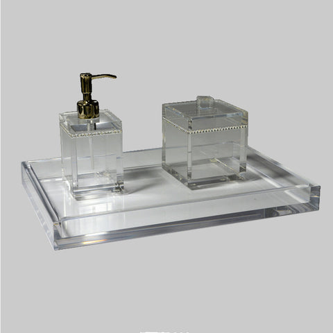 Mike and Ally Clear Ice Lucite Bath Accessories