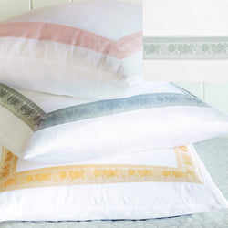 Nancy Koltes Eleanor's Ribbon Bedding - Mist/White