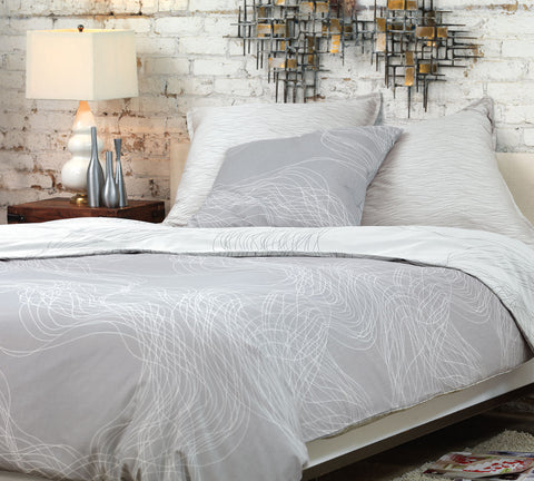 Nancy Koltes Allegro Bedding - Silver