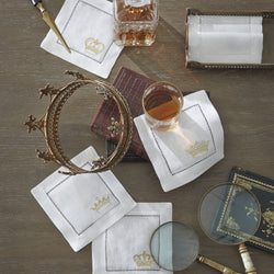Sferra Royalty Embroidered Cocktail Napkins - Gold