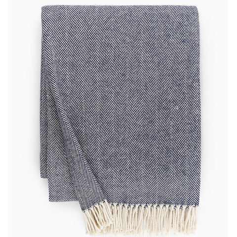 Sferra Celine Throw Blanket - Navy