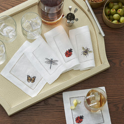 Sferra Insetti Embroidered Cocktail Napkins