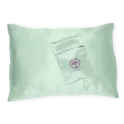 Mulberry Parks Silks Pure Silk Travel Pillowcase - Green