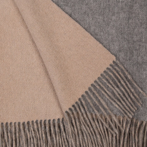 Alashan 100% Cashmere Double Faced Throw - Ash/Bisque