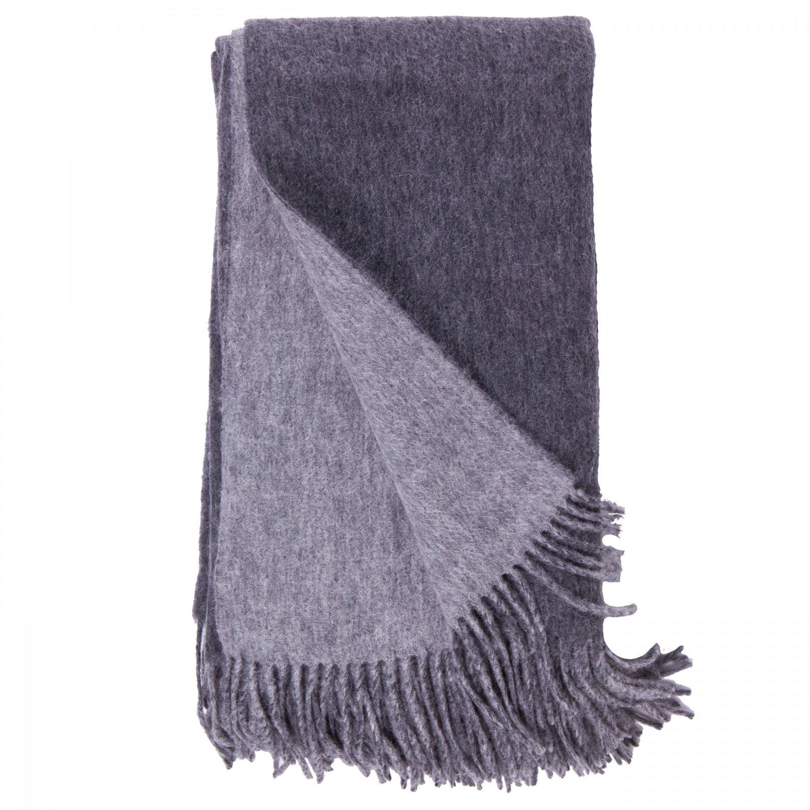 Alashan Merino / Cashmere Double Faced Throw - Charcoal/Ash