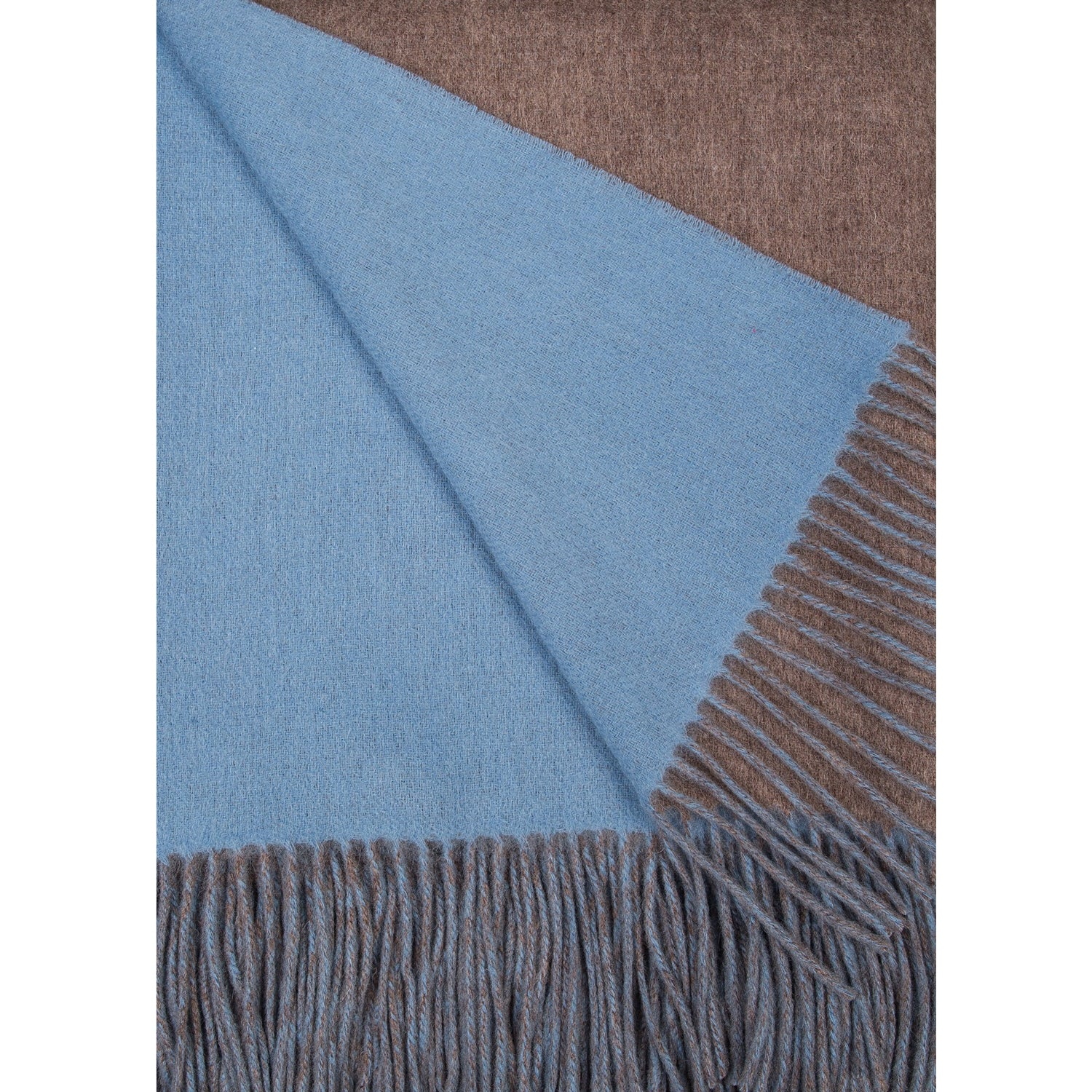 Alashan Merino / Cashmere Double Faced Throw - Mushroom/Blueskies