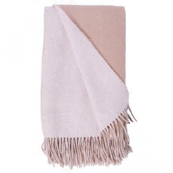 Alashan Merino / Cashmere Double Faced Throw - White/Bisque