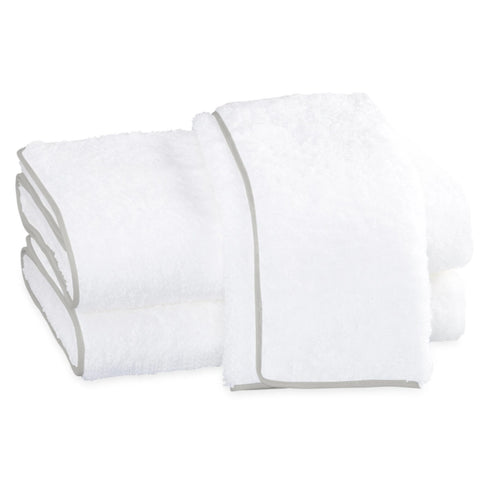 Matouk Cairo Bath Towels - White/Silver