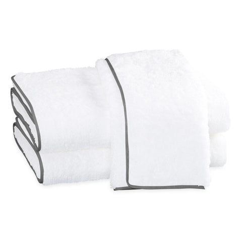 Matouk Cairo Bath Towels - White/Smoke Gray