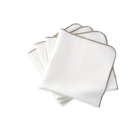 Matouk Calypso Table Linens - White/Stone