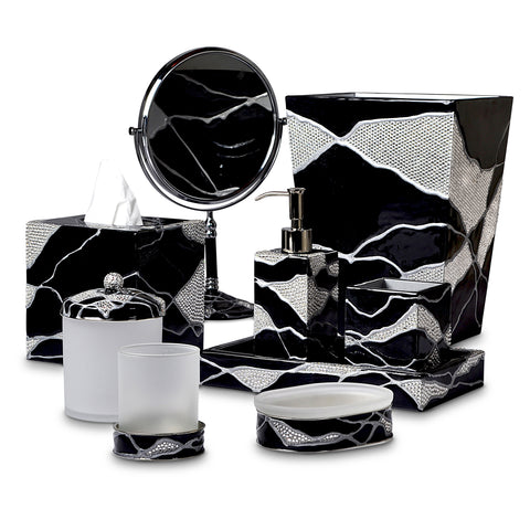 Mike and Ally Genesis Bath Accessories - Ebony / Crystal / Silver